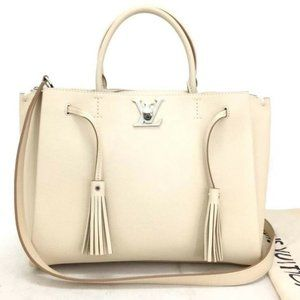 Auth Louis Vuitton Lock Me Beige Leather Tote Bag